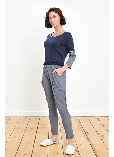 Reflections Çift Renk Kombinli Lacivert Pijama Takımı Renkli